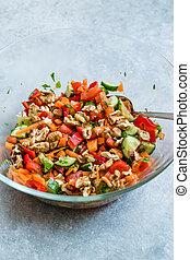 Homemade Walnut Salad in Big Glass Bowl.