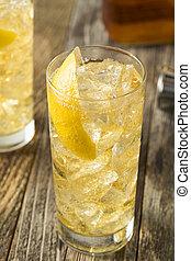Homemade Whiskey Highball with Soda Water and Lemon