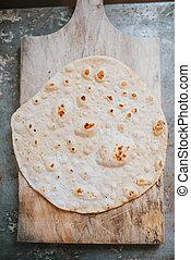 Homemade whole wheat flour tortilla