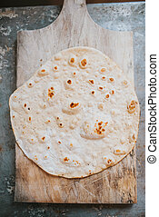 Homemade whole wheat flour tortilla