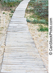 Homemade wooden trail in the sands