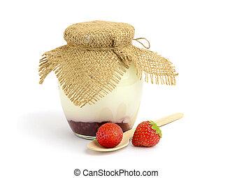 Homemade yogurt with fresh strawberries