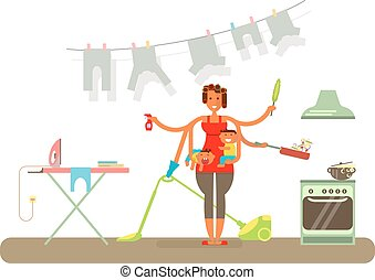 Homemaker is cleaning