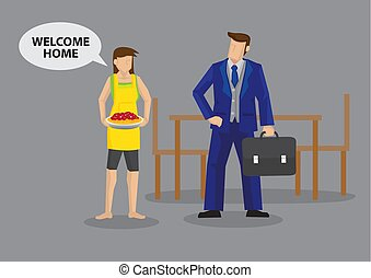 """Homemaker wife serves food and greets """"Welcome Home"""" to working husband. Cartoon vector illustration on traditional roles of working father and stay at home mom in typical family."""