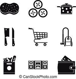 Homemaking icons set, simple style - Homemaking icons set. ...