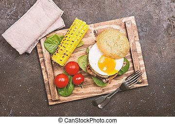 Homemmade Bacon Hamburger with fried Egg