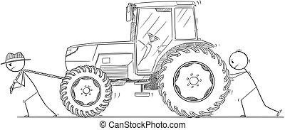 homens, agricultores, empurrar, dois, ou, puxando, caricatura, trator