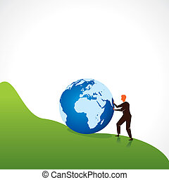 homens, apoio, mundo, globo