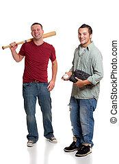 homens, basebol, dois