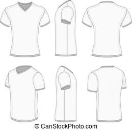 homens, branca, manga curta, t-shirt, v-neck.