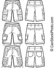 homens, carga, shorts