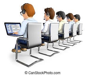 homens, centro chamada, trabalhando, 3d