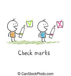 homens, cheque, marcas