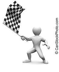 homens, com, bandeira checkered