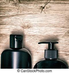 homens, cosmético, produtos, fundo, cuidado pele