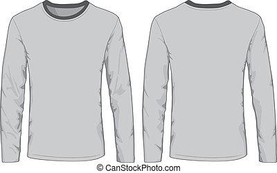 homens, costas, views., camisas, frente, template.