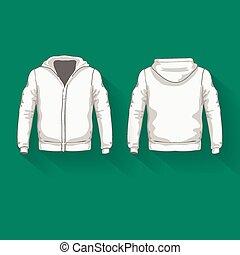 homens, costas, views., camisas, hoodie, frente, template.