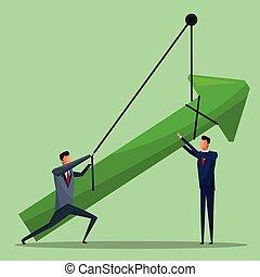 homens, crescimento, negócio, seta, penduradas