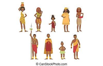 homens, crianças, pessoas, jogo, tribal, aboriginal, ilustração, tradicional, luminoso, vetorial, africano, roupa, mulheres