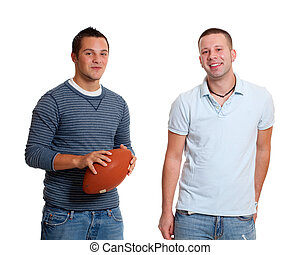 homens, dois, futebol