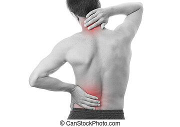 homens, dor, costas