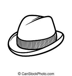 homens, isolado, experiência., vetorial, trilby, chapéu...