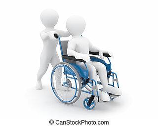 homens, ligado, cadeira rodas
