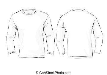 homens, longo, sleeved, t-shirt, modelo, branca, cor