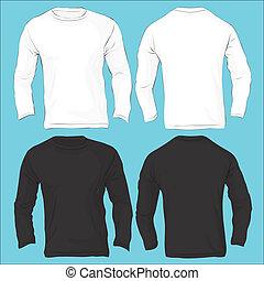 homens, longo, sleeved, t-shirt, modelo, pretas, branca