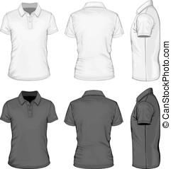homens, manga curta, polo-shirt, desenho, templates.
