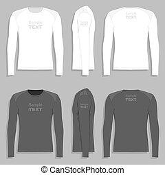homens, manga longa, t-shirt