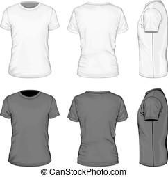 homens, manga, t-shirt preto, shortinho, branca
