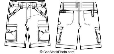 homens, moda, carga, shorts