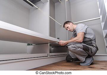 homens, montagem, armário, furnitures