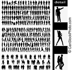 homens, mulher, goups, e, pares, silhuetas