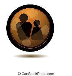 homens mulheres, botão