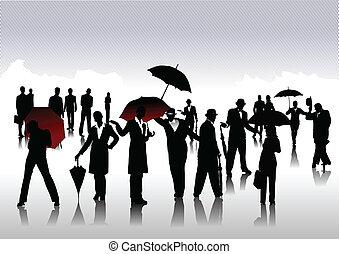 homens mulheres, com, guarda-chuva, silhuetas