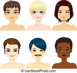 homens, multi-étnico, bonito