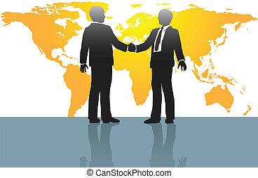 homens negócio, aperto mão, ligado, mapa mundial