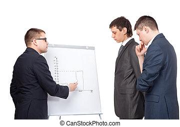homens negócio, jovem, flipchart, isolado, três, fundo, branca