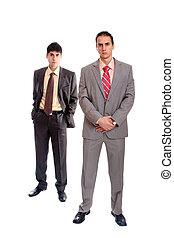 homens, negócio, jovem, retrato, dois