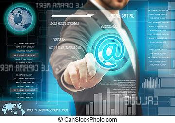 homens negócio, tocar, um, futurista, touchscreen, interface