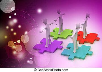 homens negócios, é, ficar, ligado, diferente, colorido, confunda pedaços