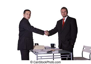 homens negócios, agitação, duas mãos
