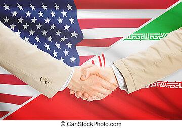 homens negócios, aperto mão, -, estados unidos, e, irã