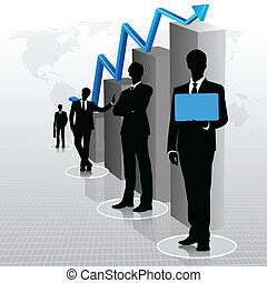 homens negócios, com, gráfico de barras