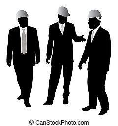 homens negócios, com, protetor, capacete