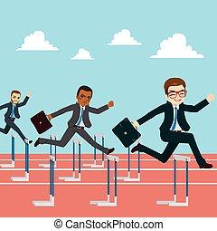 homens negócios, competição, pular, obstáculo