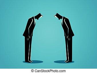 homens negócios, curvando, para, um ao outro
