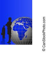 homens negócios, e, globo mundial